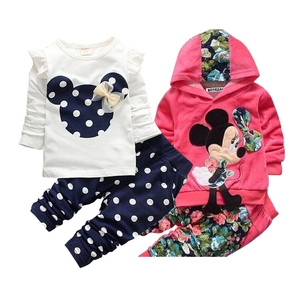 Girls clothing sets Mickey Children Clothes Set Cotton Bow Tops T shirt Leggings Pants Baby Kids 2 Pcs Suit Costume For 0-4 Year(China)