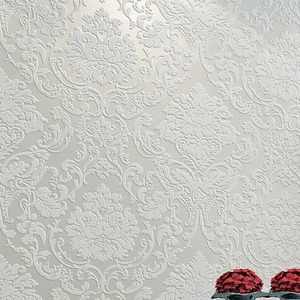 Luxury White Damask 3d Stereoscopic Embossed Wallpaper non woven Wall Paper Roll Bedroom Living Room Wall Cover Blue Cream Pink