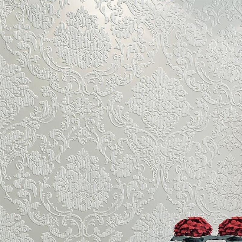 Papel tapiz estereoscópico 3d de Damasco blanco de lujo en relieve rollo de papel de pared no tejido dormitorio cubierta de pared de Salón Azul crema rosa Papel tapiz no tejido de estilo europeo papel tapiz clásico rollo púrpura/gris papel tapiz de lujo papel de pared floral papel de pared V1