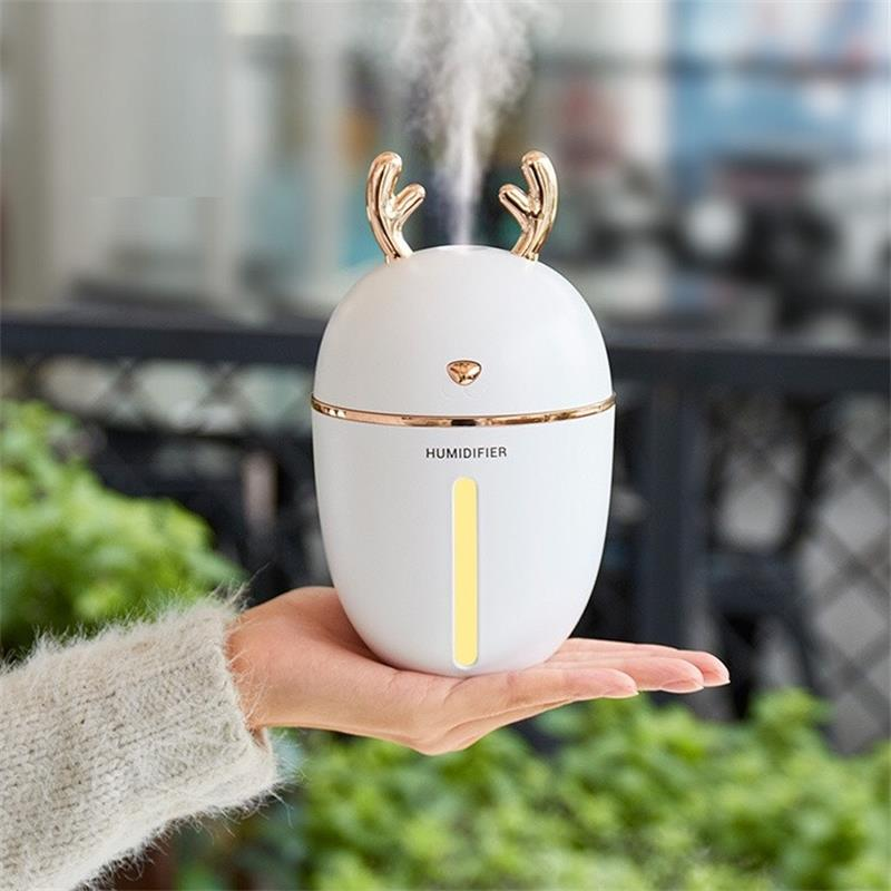 450ml USB Air Humidifier Aromatherapy Essential Oil Car Diffuser Ultrasonic Mist LED NightLight Humidifier Fogger Christmas Gift