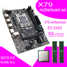 Qiyida X79 האם סט עם Xeon LGA 1356 E5 2420 מעבד 2pcs x 4GB = 8GB 1333MHz pc3 10600R DDR3 ECC REG זיכרון ram