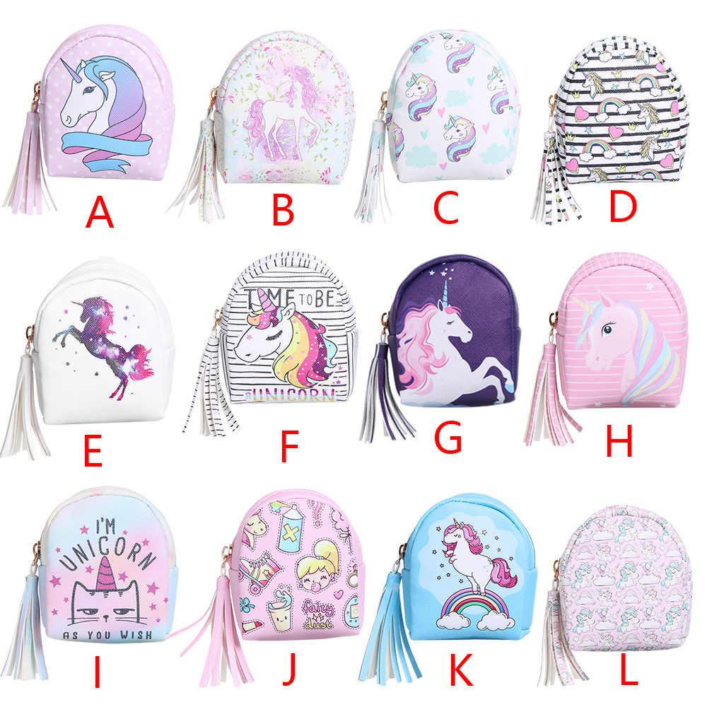 Cartoon Kwastje Mini Back Pack Portemonnee Vrouwen Oortelefoon Headset Coin Bag Pouch Voor Kids Eenhoorn Sleutelhanger Pu Rits Kleine portemonnee