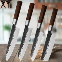 XYj 4Pcs/Set Stainless Steel Kitchen Knife Set Sushi Chef Meat Cleaver Santoku Handmade Forged Knives
