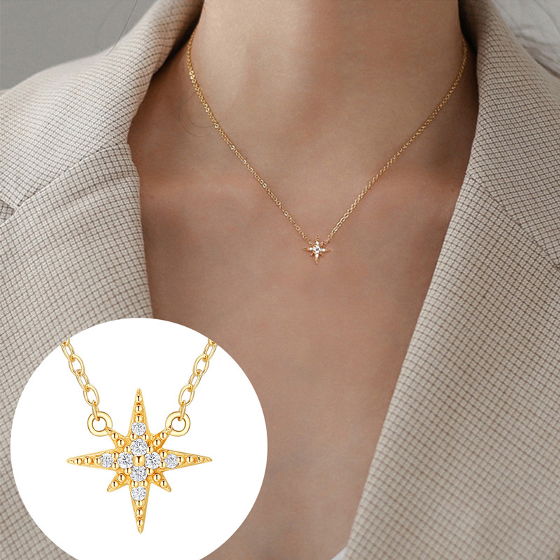 CHIMERA Luxury Real S925 Sterling Necklace Crystal Star Smiling face Pendant Chain Gold Choker for Women Jewelry Gift