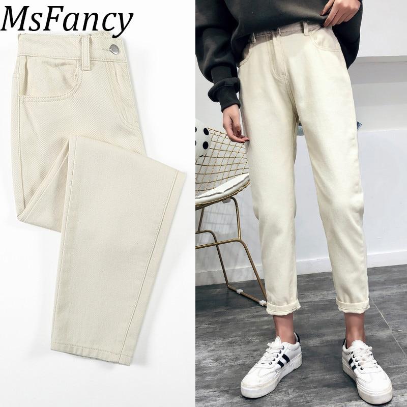 2019 Spring Summer Women Causal High Waist White Jeans Korean Fashion Elastic Waist Jeans Trousers