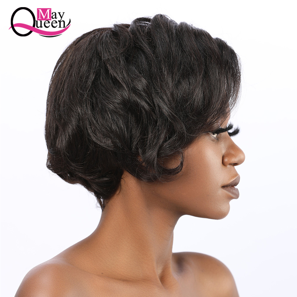 Free Ship‰Cut Wig Short Human-Hair-Wigs Lace-Frontal Brazilian-Hair Pre-Plucked Pixie with 13x4