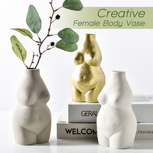 Ceramika wazony tatuaże do ciała popiersie kwiat wstaw ozdoby matowe porcelanowe rzemiosło kreatywność wazon biurko Home Decoration tanie tanio Nowoczesne Ceramiki i porcelany Blat wazon E0605VBHP3