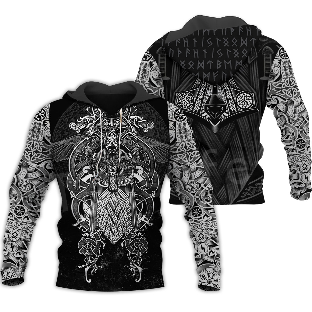 Tessffel Unisex Vikings Tattoo Viking Warriors NewFashion Harajuku MenWomen HipHop 3DPrint Zipper/Sweatshirts/Hoodies/Jacket S-5