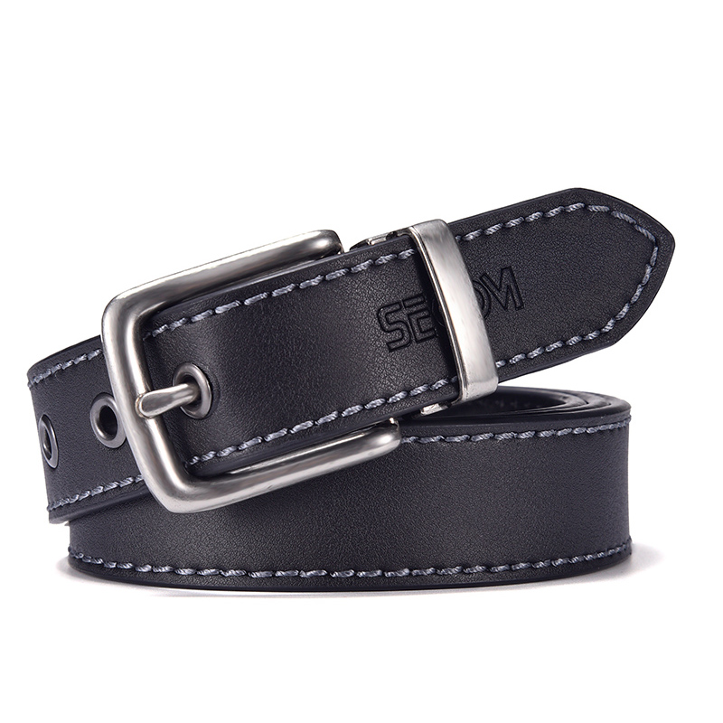 Fashion Black Belt For Men Cowskin Genuine Leather Belt  3.0 Cm Ancient Silver Buckle High Quality Male Black Strap For Jeans