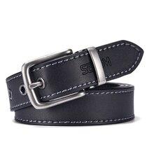 Fashion Black Belt For Men Cowskin Genuine Leather Belt  3.0 cm Ancient Silver Buckle High Quality Male Black Strap For Jeans