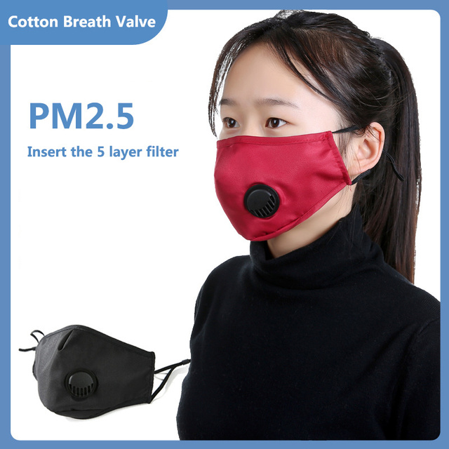 Breath Valve PM2.5 Mouth Mask Anti flu Mask Face Mouth Filter Mask non disposable mask Filters can be replaced