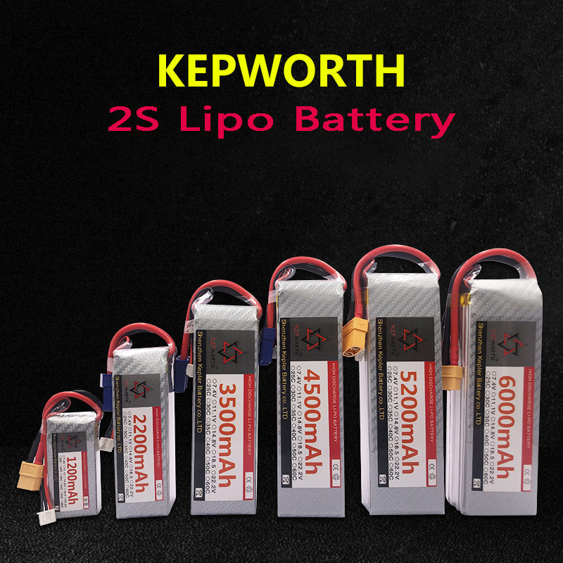RC LiPo Battery 2S 7.4v 1300 3000 3300 3800 4200 4500 5000 6000mAh 25C 35C High Rate Rechargeable For RC Car Airplane Helicopter(China)