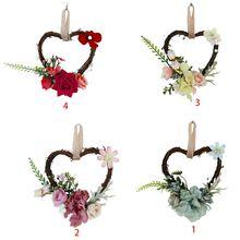 В форме сердца венок искусственный цветок романтический висит гирлянда для свадьбы