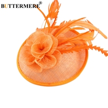 BUTTERMERE British Wedding Hat Women Orange Linen Fedora Ladies Elegant Ostrich Feather Church Hats Flower Female Party