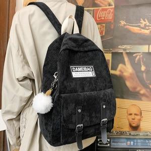 Image 3 - Милый вельветовый рюкзак в полоску, милый школьный ранец для женщин, роскошный рюкзак для девочек подростков в стиле Харадзюку, модная женская сумка для учебников