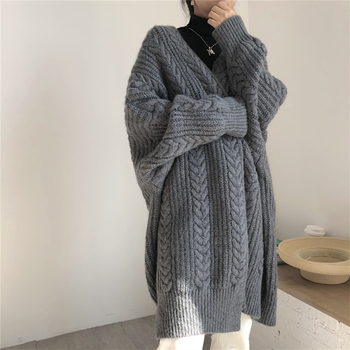 Women knitted long sleeve sweater cardigan for female women 2020 autumn new overcoat outwear coats