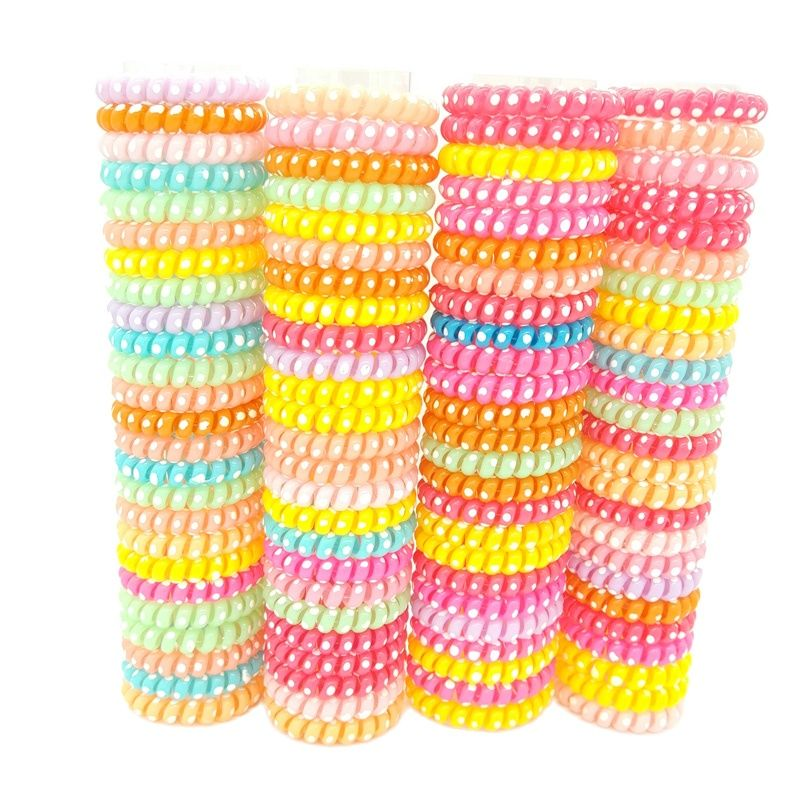 Lots 100 Pcs  Dot Design  Elastic Telephone Wire Hairband Hair Ties Rope Plastic Bands Accessories Size 5.5cm