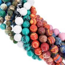 Оптом Бирюзовый морской осадок Малахит бусины из натуральных камней россыпью бусины для рукоделия изготовления ювелирных изделий 4 мм 6 мм 8 мм 10 мм12 мм DIY браслет