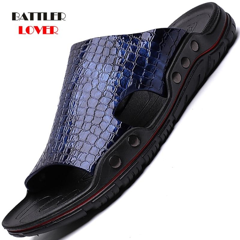 Men Slippers Summer Flat 2020 Summer Man Shoes Breathable Beach Slipper Male Genuine Leather Flip Flops Mens Slippers Size 38-45