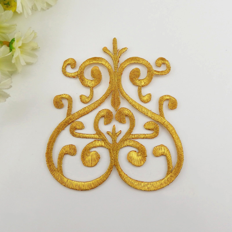 YACKALASI 5 Pieces/Lot Iron On Gold Appliqued Violin Embroidery Fabric Applique Gold Metallic Patches Gold silver 10CM*9.3CM
