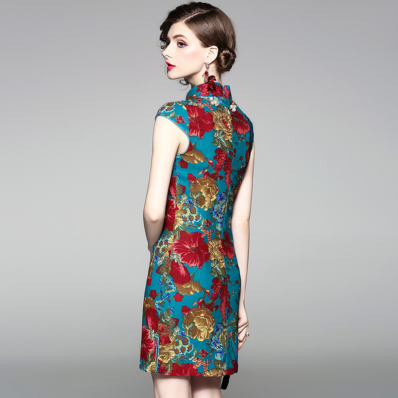 Improved Cheongsam Summer 2019 Spring New Style Chinese-style Dignified Glorious Vintage Printed Slimming Dress 80646