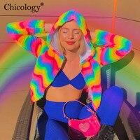 Chicology rainbow long sleeve zipper hooded jacket women streetwear neon crop top coat 2019 autumn winter female casual clothes