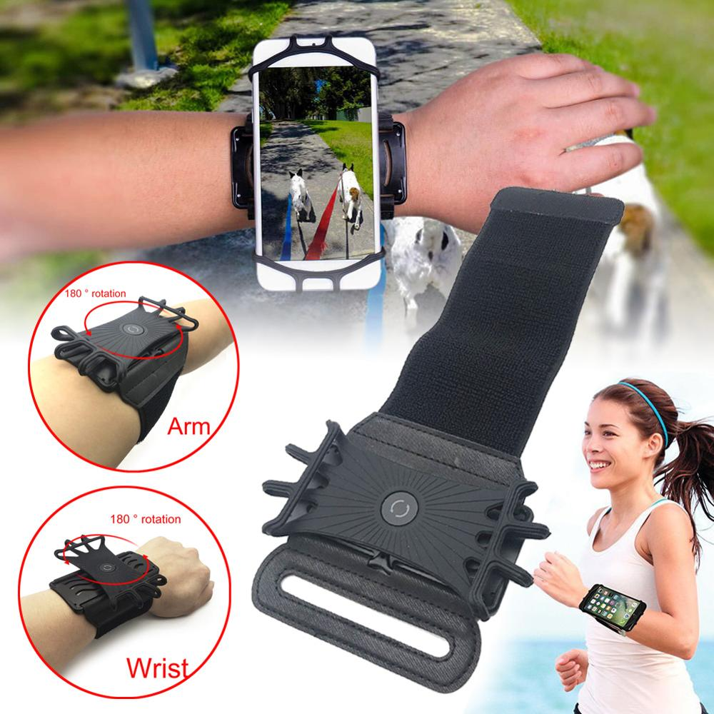 Universal Cell Phone Holder Wristband Fit for iPhone X XS XR MAX 7 8 Plus 180 Rotatable Running Sport Wrist Arm Band S10 S9 S7