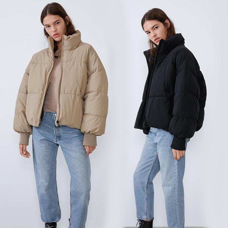 2019 ZA   Down     Coats   for Women Winter Jacket Women Stand Collar Solid Black Female   Down     Coat   Loose Oversized Women Short Parka