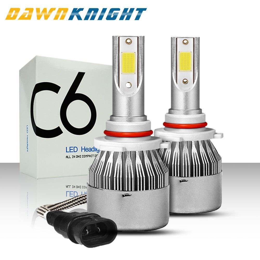 DAWNKNIGHT 2 pièces H7 phare LED C6 COB Turbo Ventilateur 12V 6000K H4/9003/HB2 H1 H3 H8/H9/H11 H27 9005/HB3 9006/HB4 9012 Voiture lampe à LED