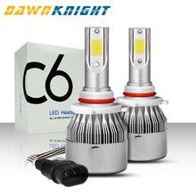 DAWNKNIGHT 2PCS H7 Led C6 COB CHIP Turbo Fan 8000LM 6000K H4/9003/HB2 H1 H3 H8/H9/H11  9005/HB3 9006/HB4  9012 Car Led Light 2pcs lot h1 h3 h4 h7 cob led for c6 car headlight bulbs chip h11 880 9005 9006 9012 cob light source replace c6 auto headlamps