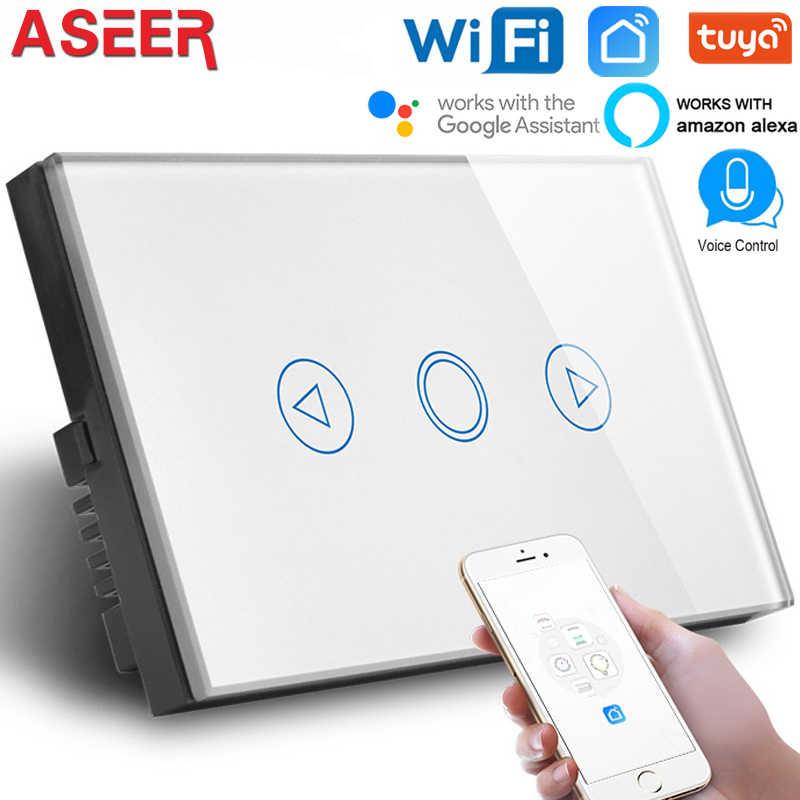 ASEER,AU/abd WIFI LED Dimmer anahtarı, AC110-240V, akıllı anahtarı kullanımı için lamba ve fenerler, beyaz kristal cam Panel, çalışır alexa,google