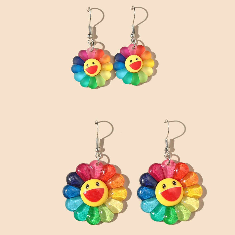 S-TROUBLE Lovely Colorful Sunflower Drop Earrings Fashion Cute Frosted Smiling Face Sun fl