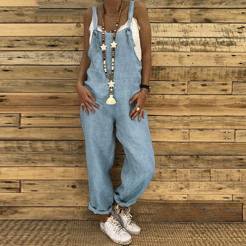 S 5XL 2019 Women Casual Solid Strappy Dungarees Vintage Cotton Linen Loose Party Long Harem Overalls Rompers Jumpsuits