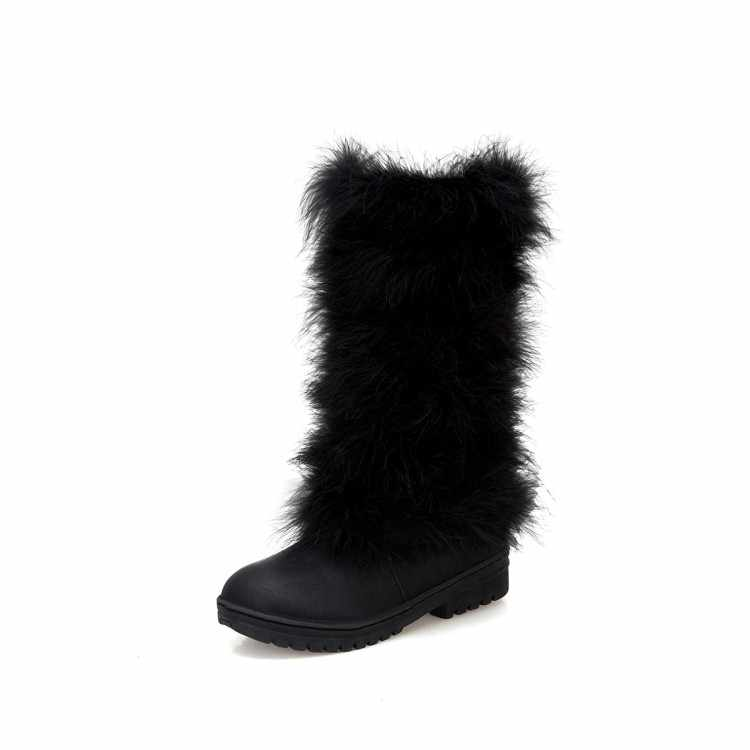 BLXQPYT Winter Frauen Pelz Schnee Stiefel Aus Echtem Leder Mid-kalb Stiefel Weibliche Wasserdichte Warme Flache lange Stiefel große größe 34-46 665