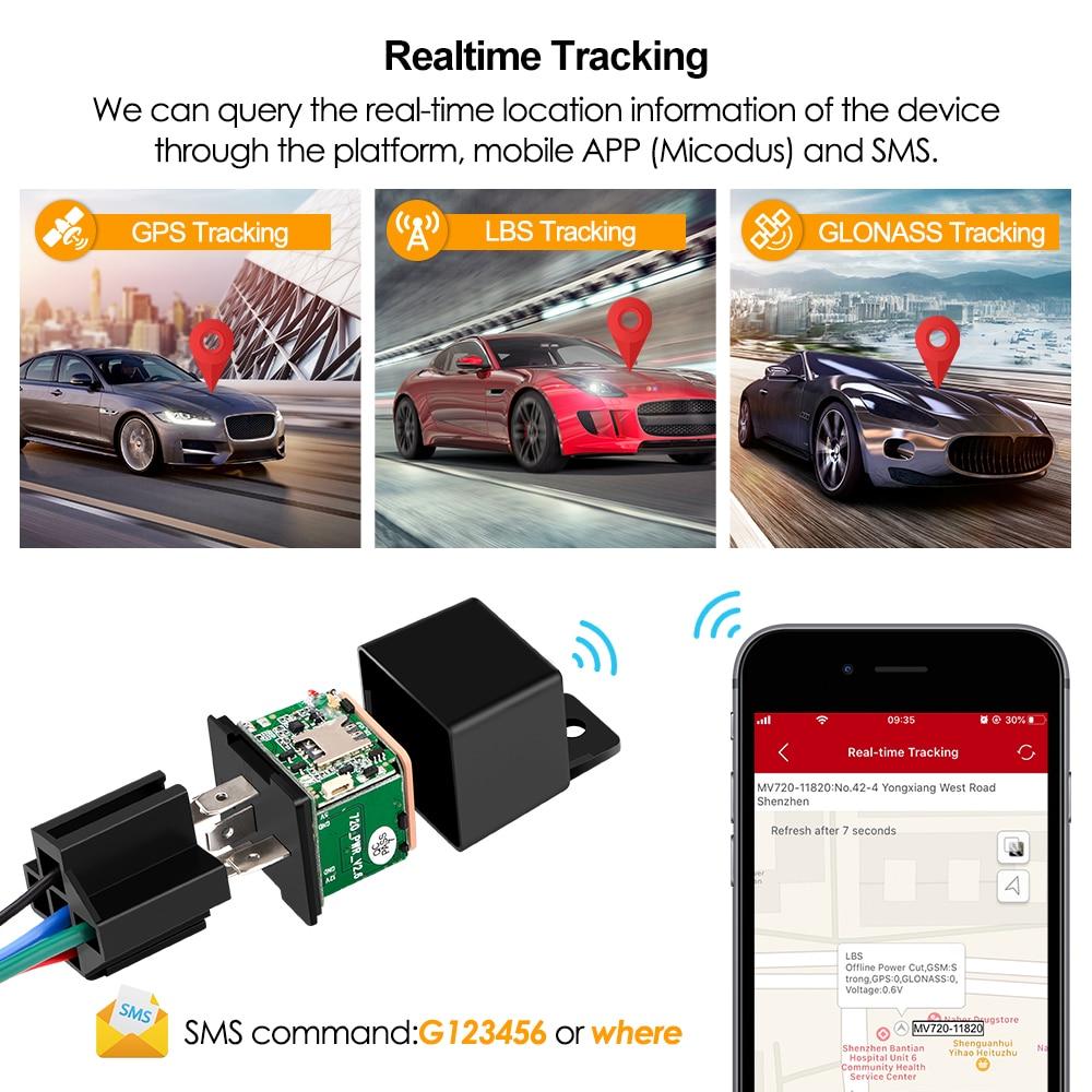 Mini GPS Tracker Car Tracker Micodus MV720 Relay Hidden Design Cut Off Fuel Car GPS Locator 10-40V 80mAh Vibrate Alert Free APP 3