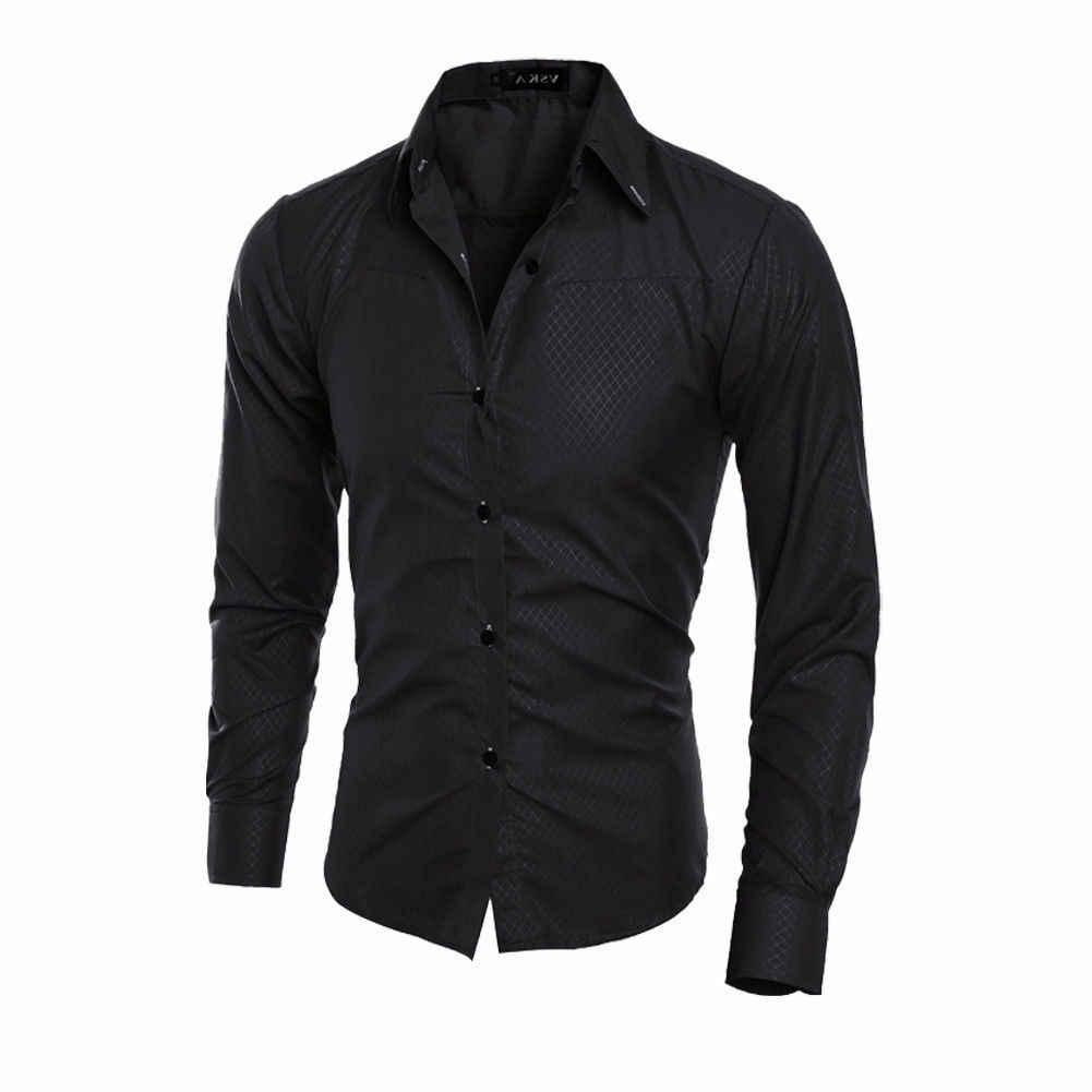 Hot 2019 dos homens de Luxo Slim Fit Vestido Sólida Camisa Masculina Camisa de Manga Comprida Turn-down Collar Elegantes homens de Negócios Formais mais a camisa do Tamanho