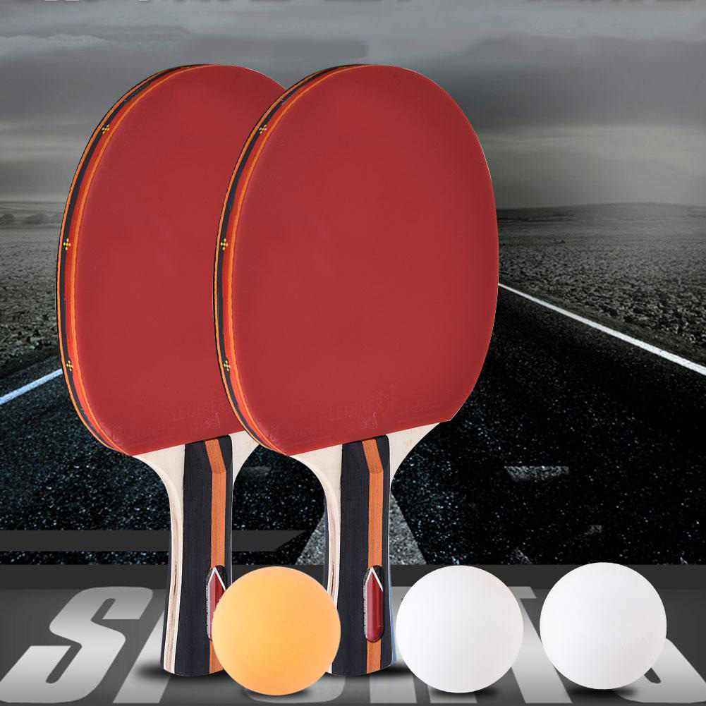 Training Table Tennis Racket Long Face Short Handle Table Tennis Racket Group Double-Sided Racket Teaching Racket With 3 Balls
