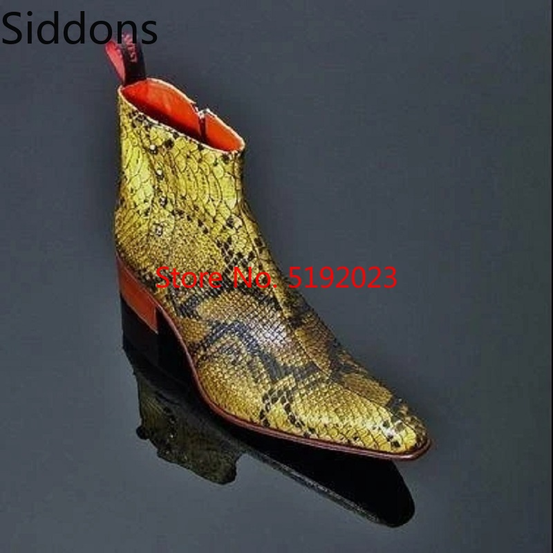 Winter Men Fashion Luxury Pointed Toe Chelsea Boots Vintage Snake Comfortable Ankle Boots Zipper Male Casual Boot D186
