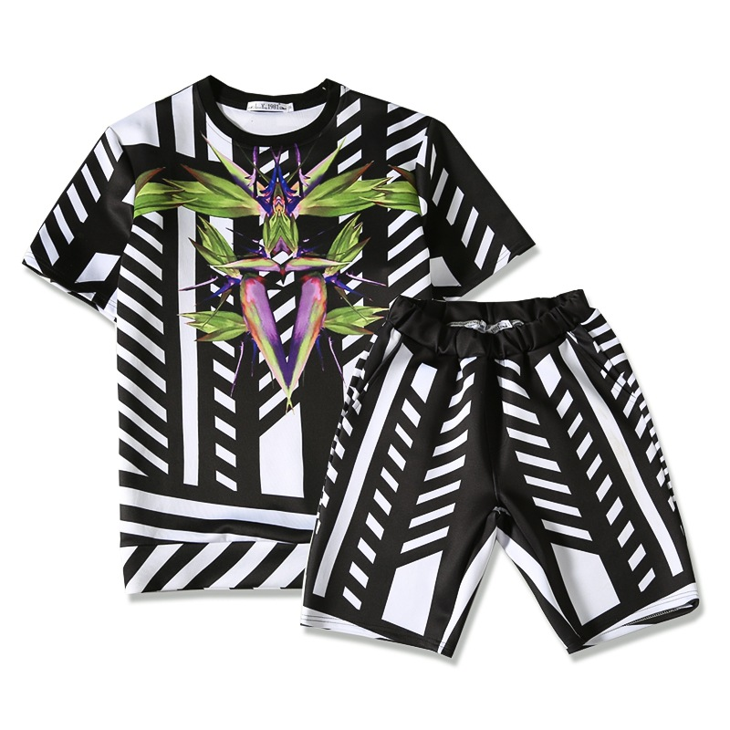 2019 Summer New Style 3D Stripes Leaves Printed Teenager Men's Fashion Popular Short Sleeve Shorts Two-Piece Set