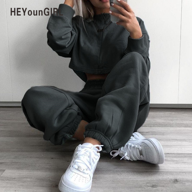 Heyoungirl Winter Sweat   Pants   Women Casual Elastic High Waist Trousers Solid Gray Yellow Track   Pants     Capris   Pockets Autumn 2018