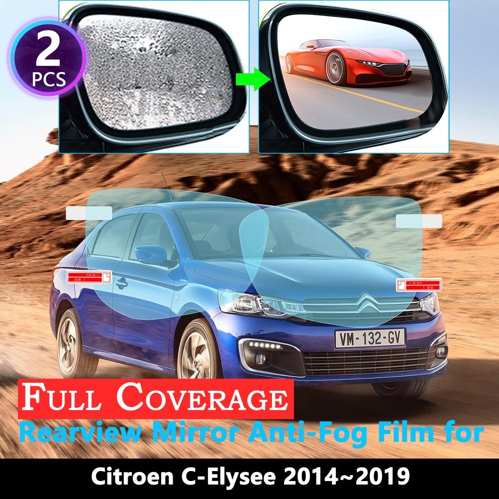 Full Cover Protective Film For Citroen C-Elysee C Elysee 2014~2019 Car Rearview Mirror Rainproof Anti-Fog Film 2016 2017 2018