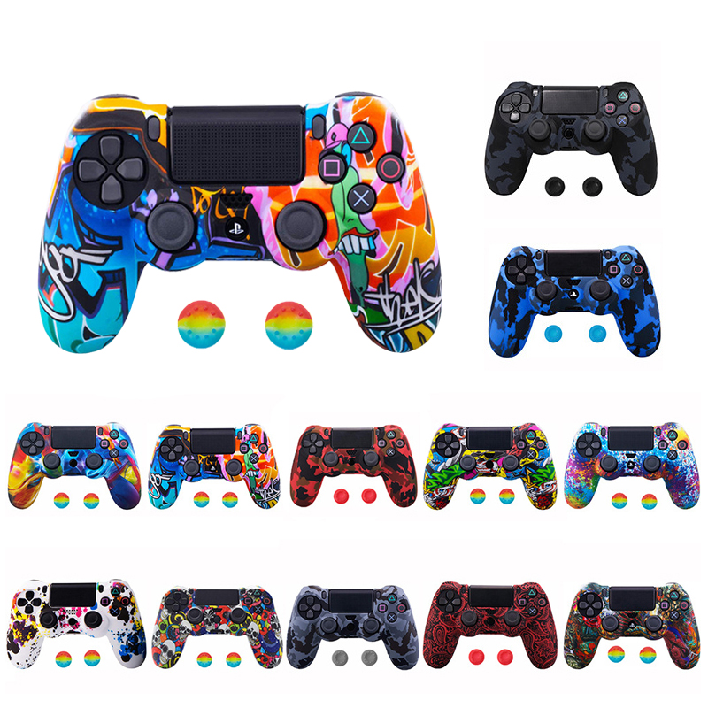 Silicone Camo Protective Skin Case For SONY Playstation 4 PS4 Pro PS4 Slim Gamepad Controller Anti-slip Protection Joystick Caps