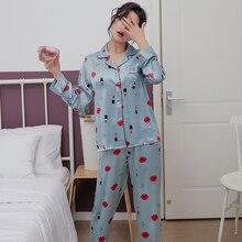Simulation silk pajamas sets small turndown long-sleeved trousers two-piece ladies Lip print satin home service sleepwear
