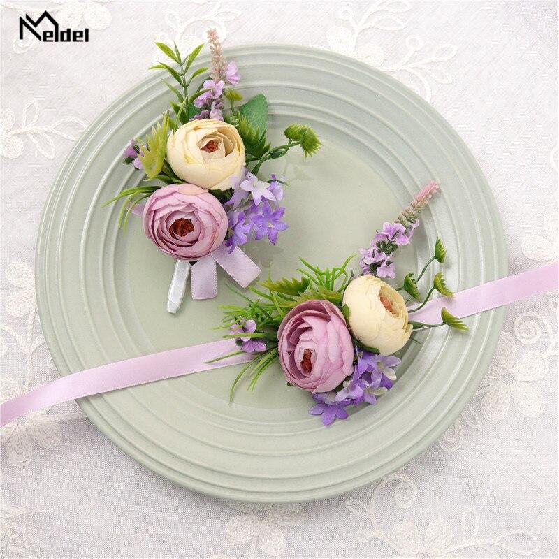 Meldel Purple Silk Flore Groom Boutonniere Buttonhole Pin Cuff Bracelet Bridesmaids Wedding Silk Wrist Corsage Bracelet Flowers