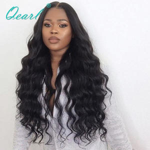 Wigs Human-Hair Middle-Part Black-Women Full-Lace Wavy Brazilian with for 24-26-150-%