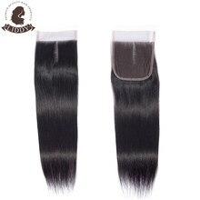 Liddy 4x4 fechamento do laço 100% cabelo humano fechamento reto cabelo brasileiro tecelagem cor natural não remy fechamento frontal do cabelo