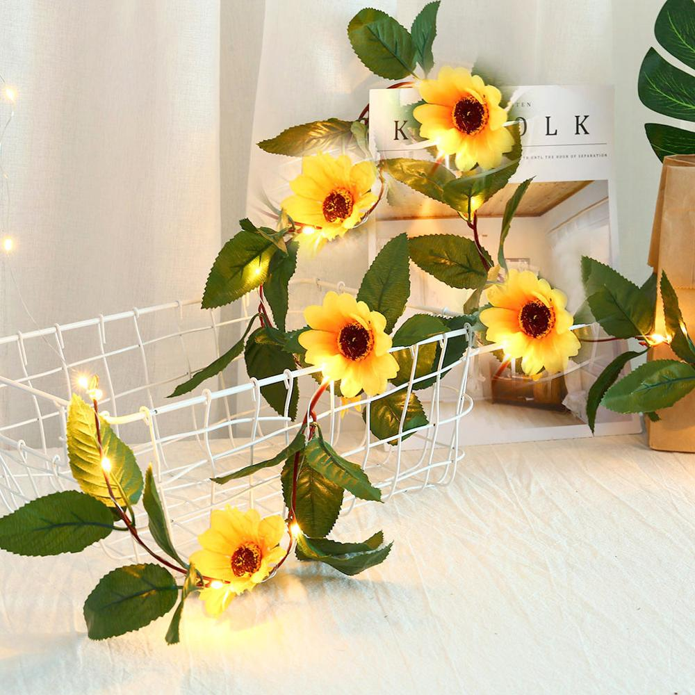Thrisdar 2.2M 30LED Sunflower Leaves Garland Fairy Light Copper Wire String Light Wedding Christmas Party Leaves Fairy Garland