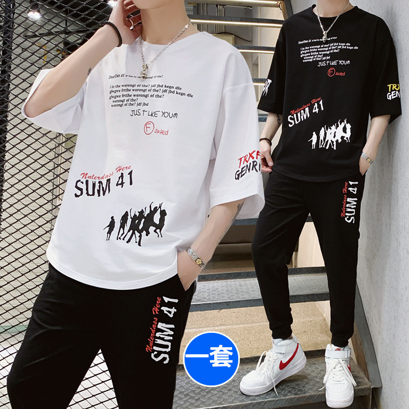 Summer Short-sleeved Set Male STUDENT'S Teenager Korean-style Trend T-shirt Three-quarter-length Sleeve Sports Shorts Two-Piece