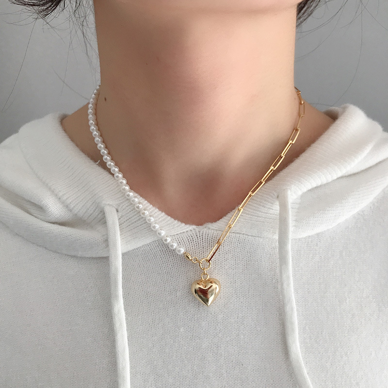 Silvology 925 Sterling Silver Asymmetry Pearl Chain Heart Necklace Originality Luxury Womens Pendant Necklace Festival Jewelry