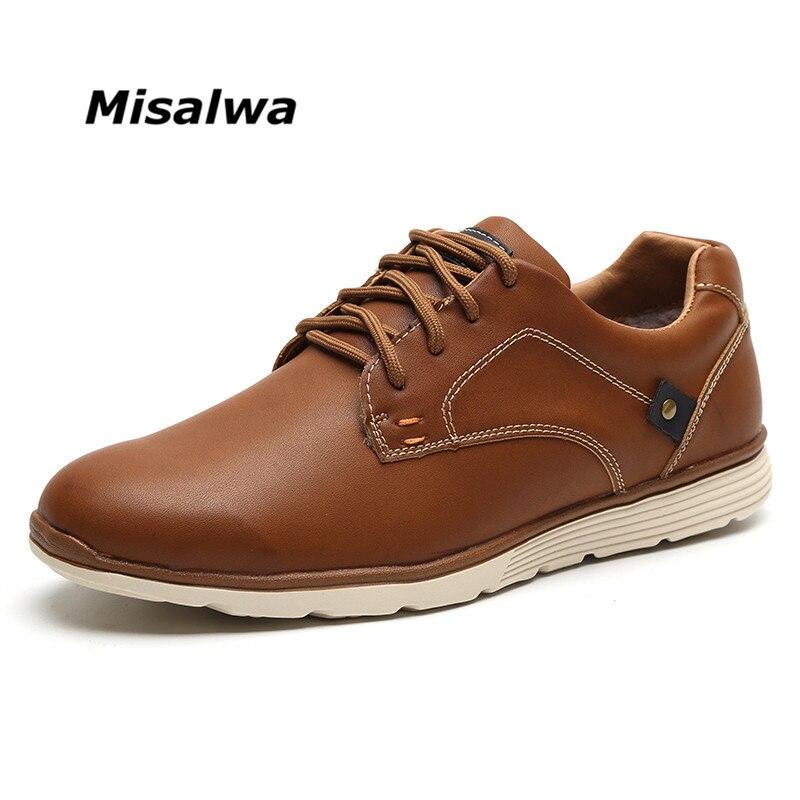 Misalwa classique confort hommes en cuir chaussure marque loisirs élégant décontracté chaussures plates travail bureau affaires garder au chaud hommes baskets